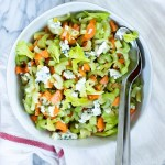 bowl of celery carrot slaw with blue cheese