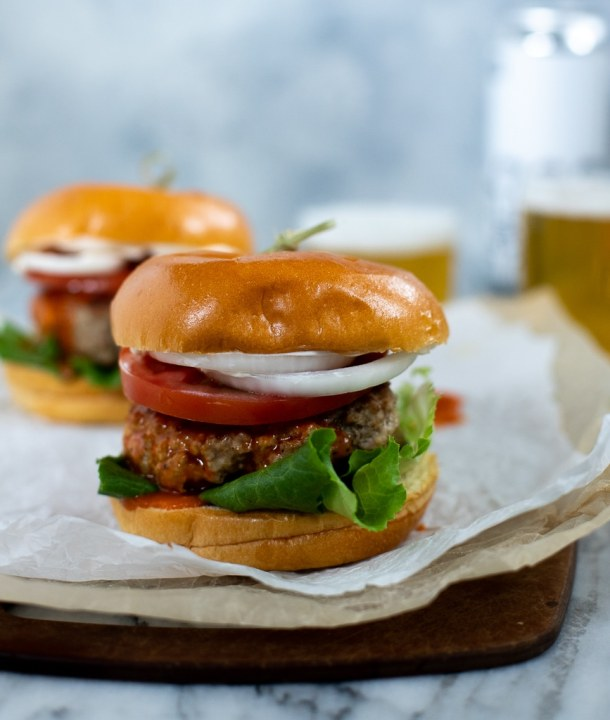 juicy turkey burger with buffalo sauce
