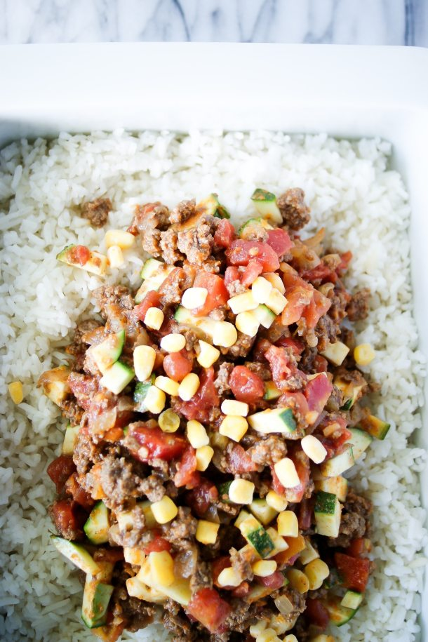 ground beef and rice casserole before baking
