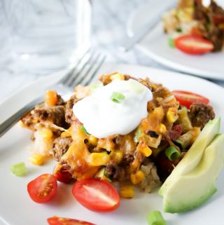 mexican ground beef casserole on a plate