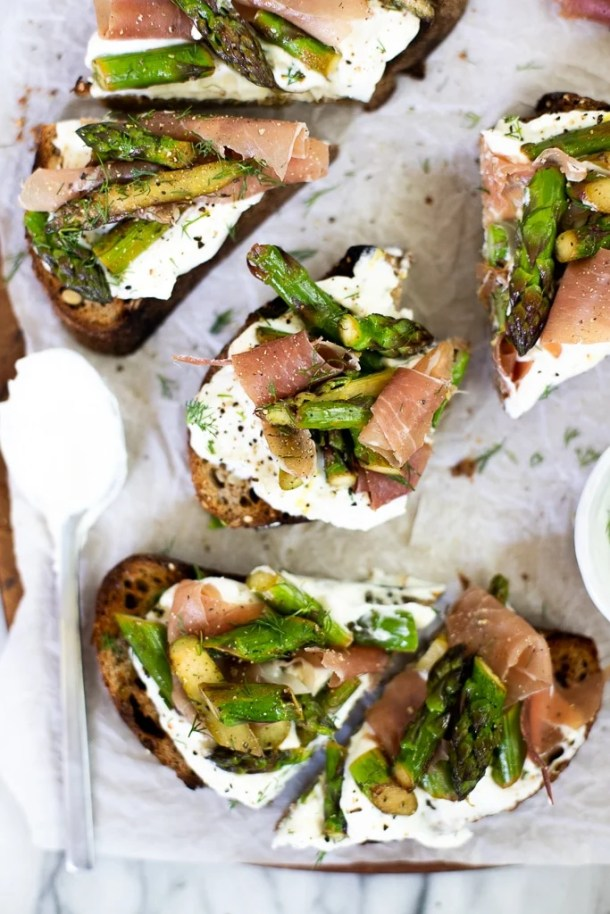 open faced sandwiches with asparagus