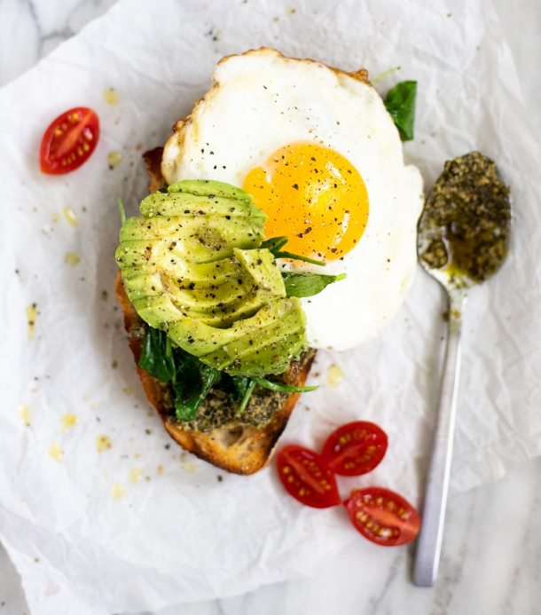 breakfast avocado toast with fried egg