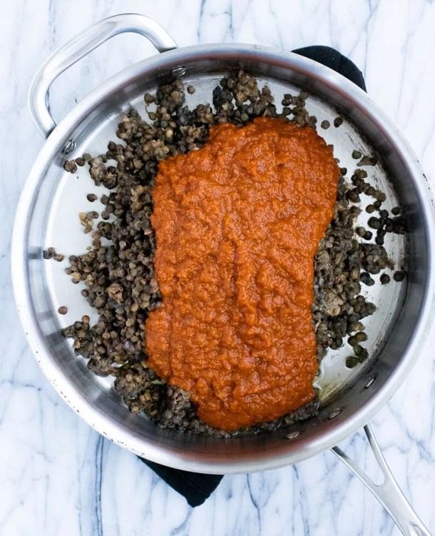 pan with Trader Joe's lentils and masala simmer sauce