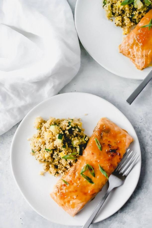 salmon with apricot glaze on plates
