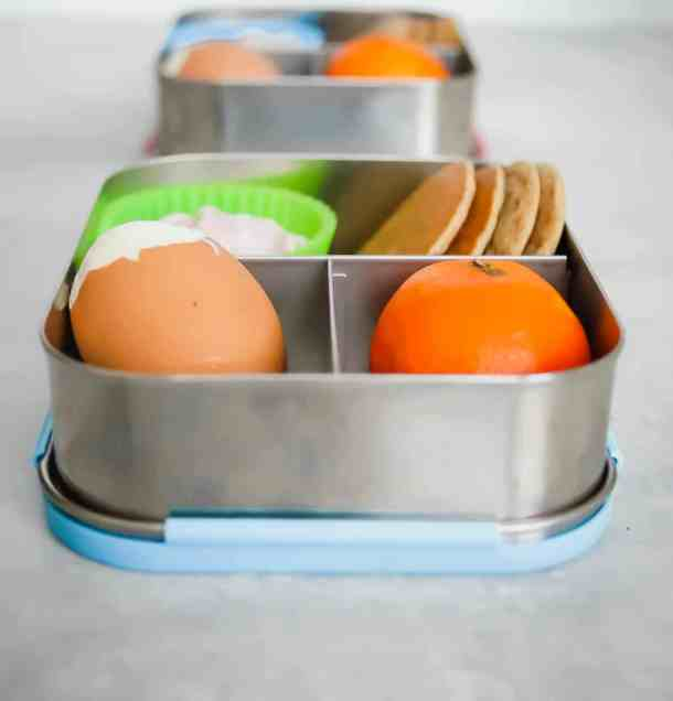 bento breakfast box: orange and hard boiled egg