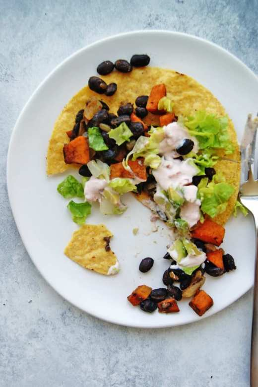 black bean and sweet potato tostada