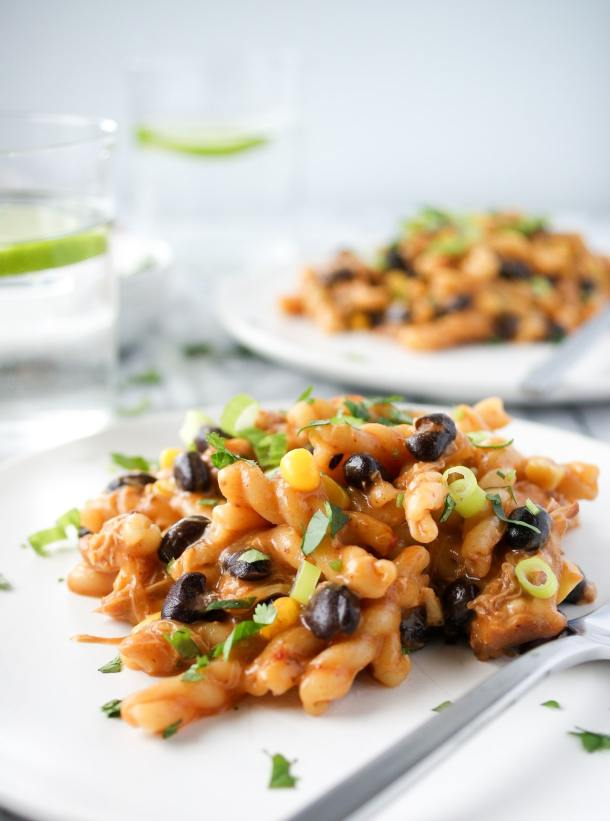 chipotle chicken pasta with black beans and corn