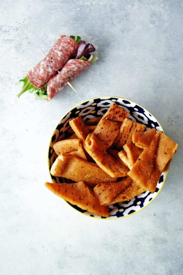Mediterranean appetizers - pita chips and salami roll ups