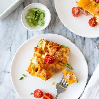 easy breakfast egg bake recipe on plate