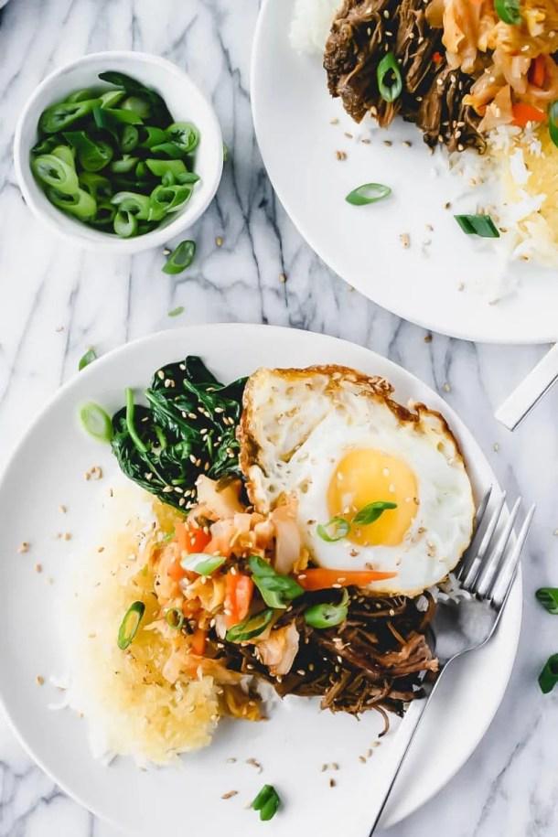 slow cooker Korean beef on plates