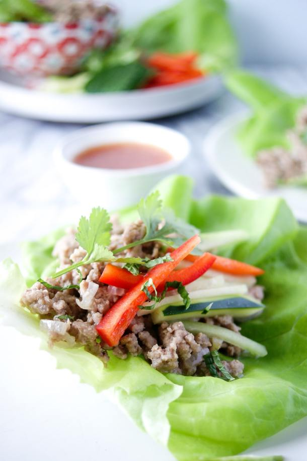 larb thai lettuce wraps with red pepper