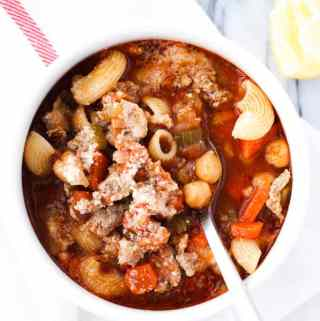 bowl of pasta fagioli soup
