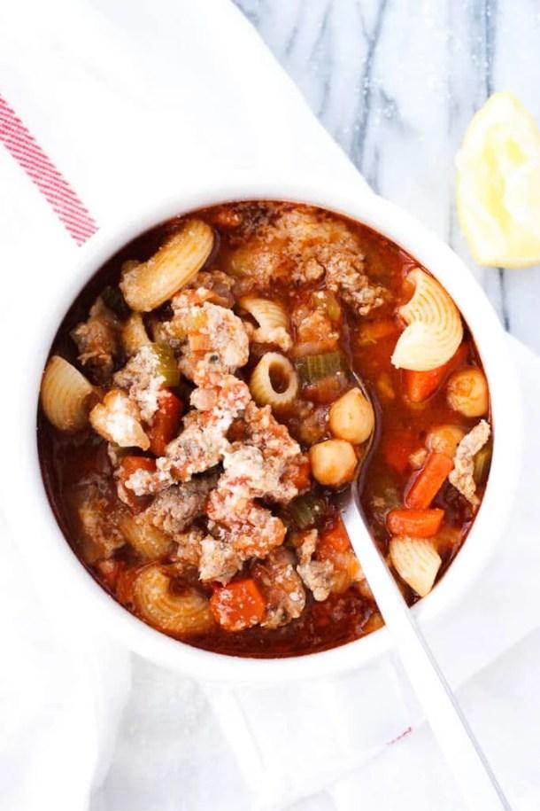 bowl of pasta fagioli soup