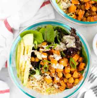 two bowls of quinoa grain bowls
