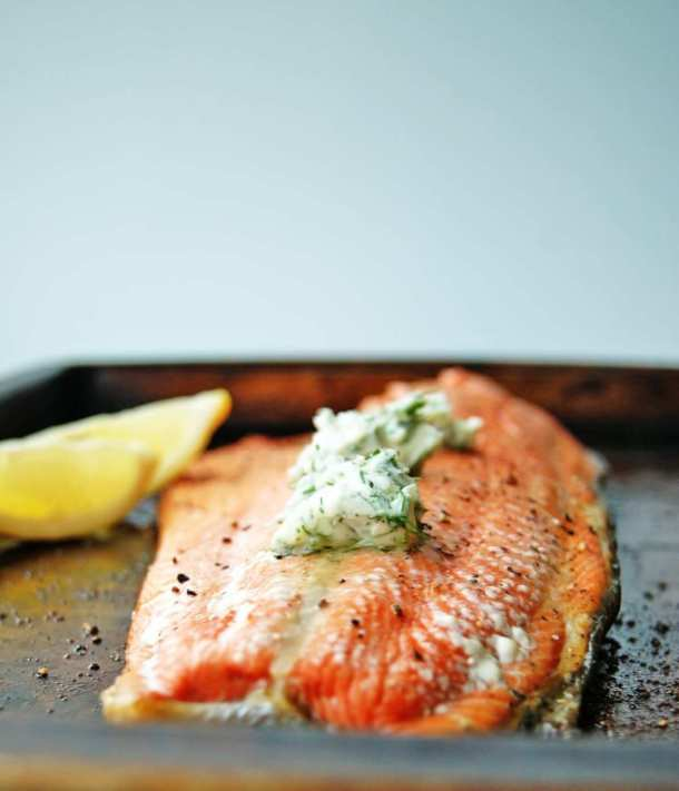 roasted salmon with dill butter