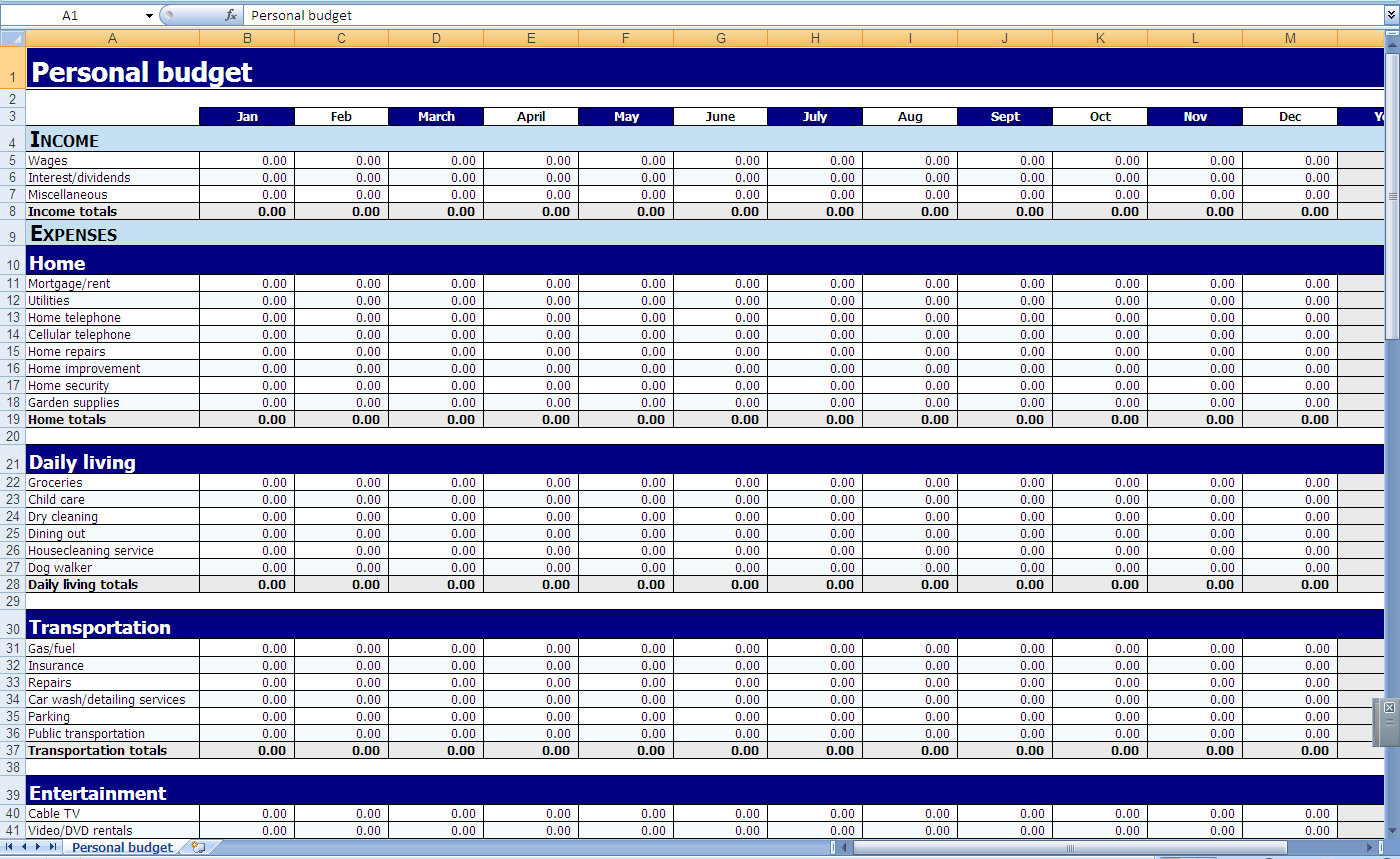 Excel Templates Personal Finances