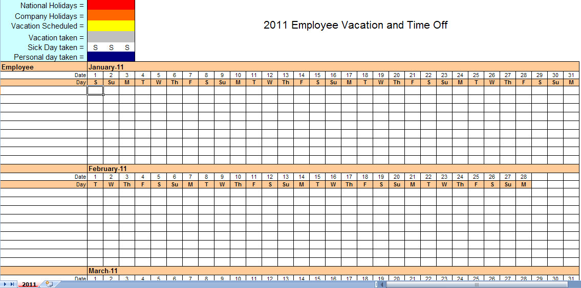 Employers use these schedules to assign hours to each of their employees and give everyone a document to reference for shift times. 2011 Employee Vacation Calendar Vacation Calendar Template 2011