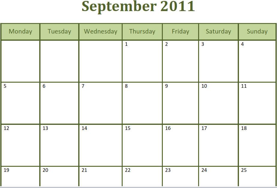 Calendar Template Excel 2010