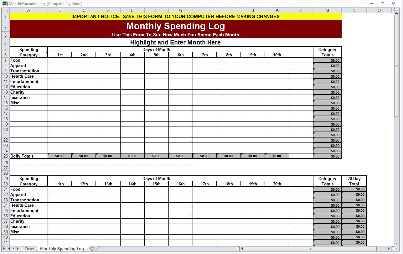 Monthly Spending Log Monthly Spending Worksheet