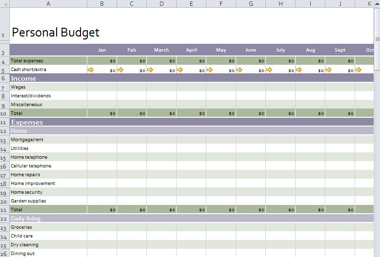 Personal Budget Template Free Personal Budget Template