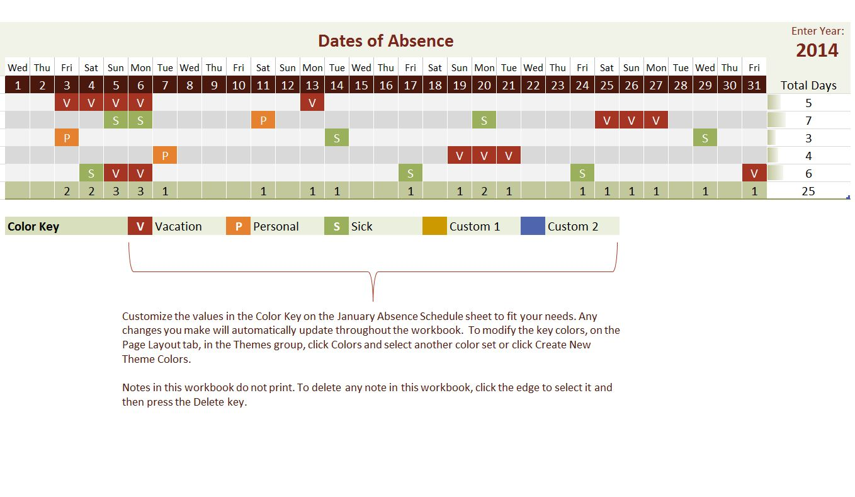 Employee Vacation Tracking Calendar Template