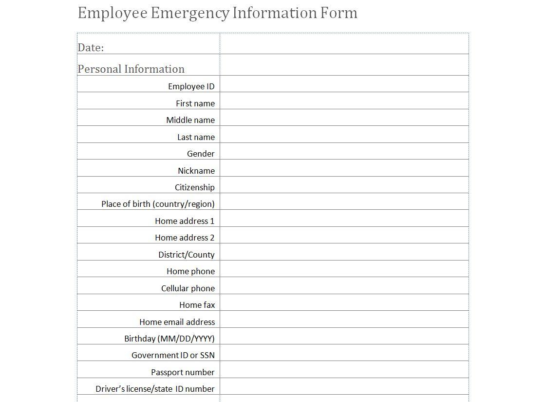Employee Emergency Information Form Template