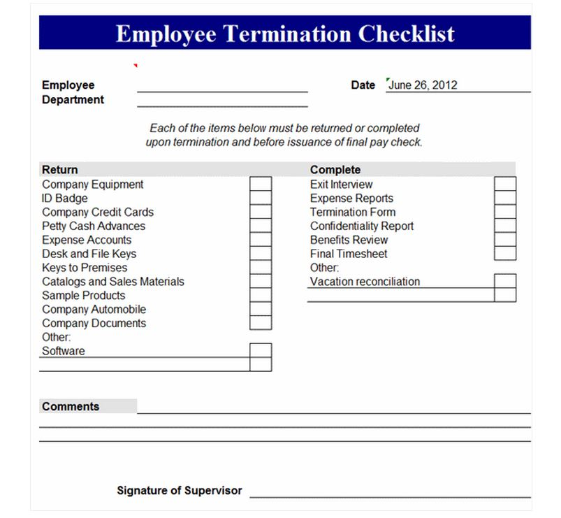 Employee Termination Checklist Employee Termination Form
