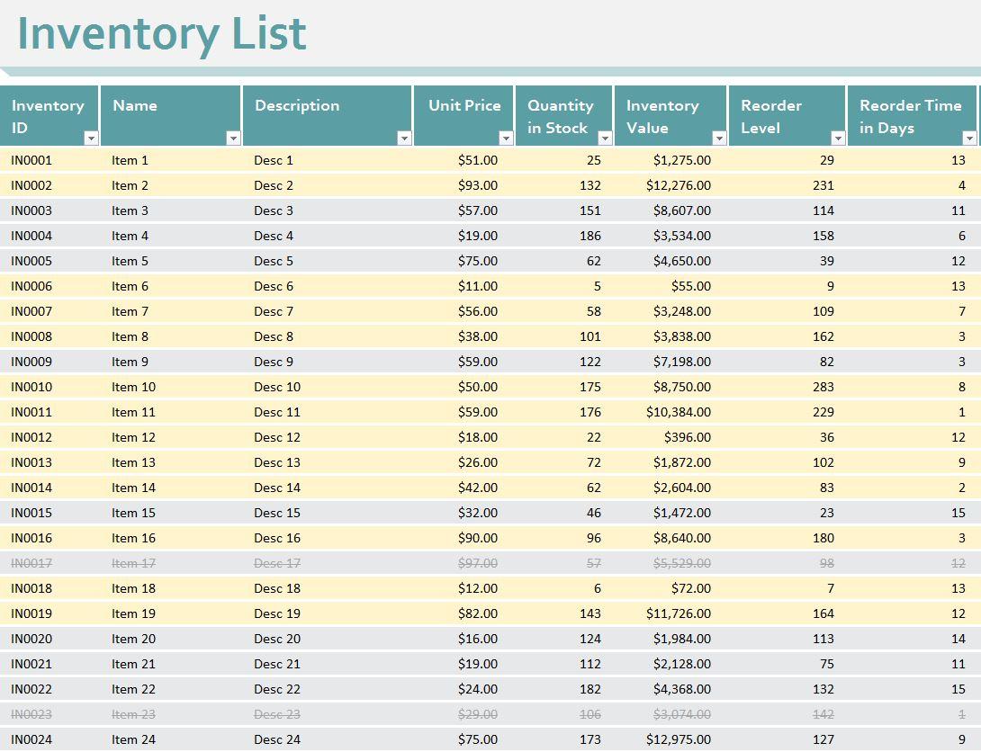 Inventory Sheet Template Excel Workbook