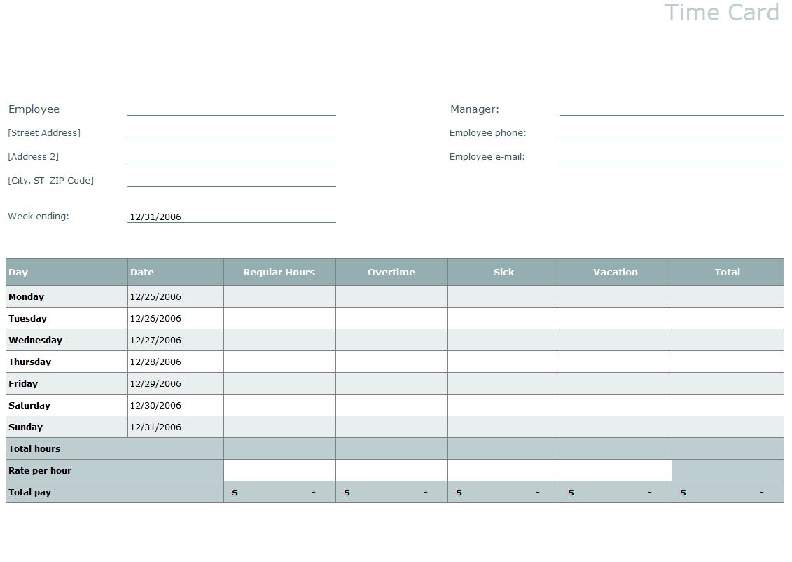 My Excel Templates