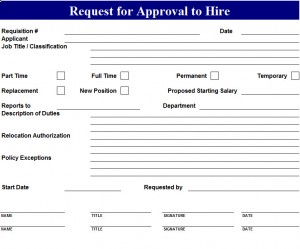 Approval To Hire Request Template My Excel Templates