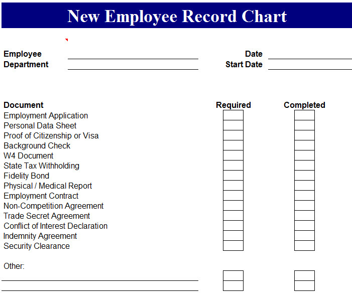 Managing employee information is important, but it's easy to get lost in the paperwork. New Employee Record Chart My Excel Templates