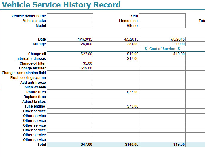 The drive and its partners may earn a commission if you purc. Vehicle Service History Record Template My Excel Templates