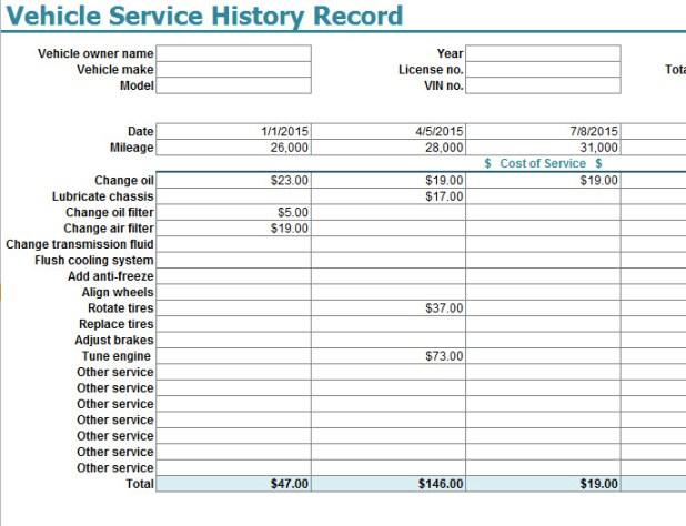 car service history log book template carlazos info