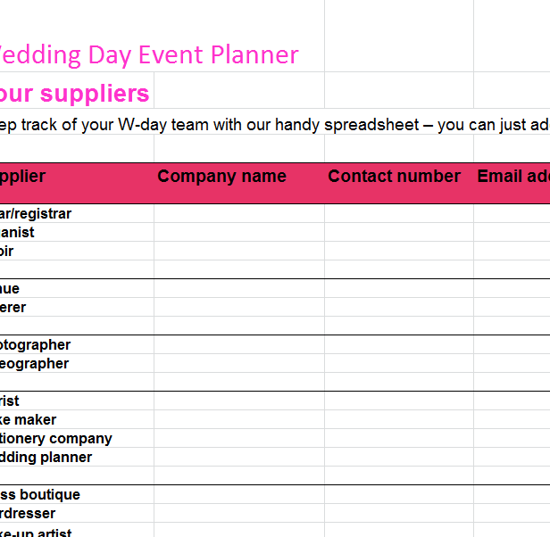 Wedding Day Event Planner My Excel Templates