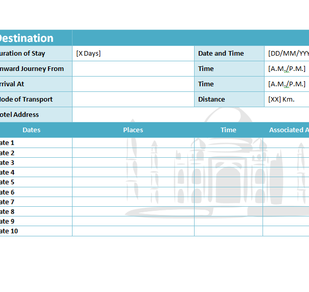 A template for itinerary is a great tool to keep track of your reservations, addresses, activities, and more. Travel Itinerary Template My Excel Templates