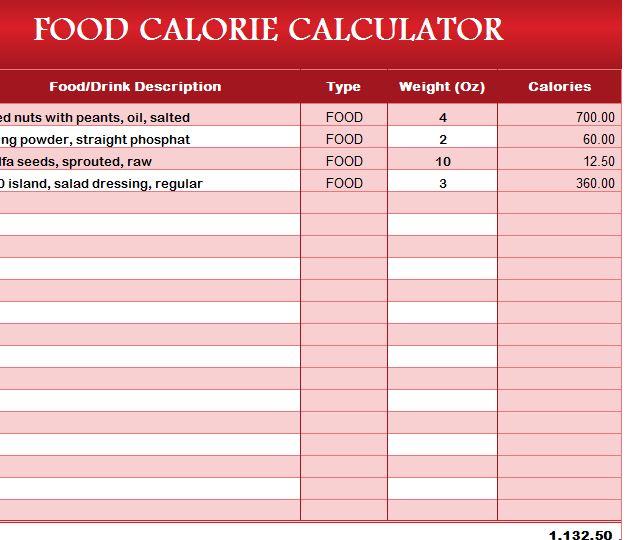 Food Calorie Calculator My Excel Templates