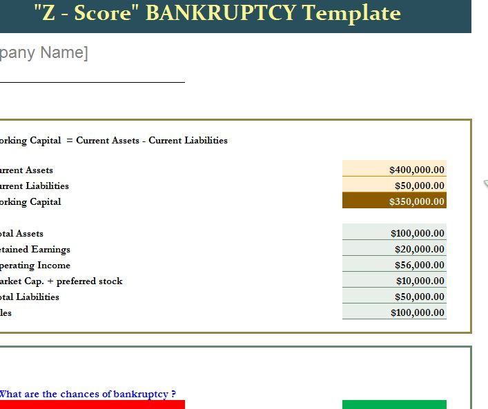 Z Score Bankruptcy Template And Instructional Guide