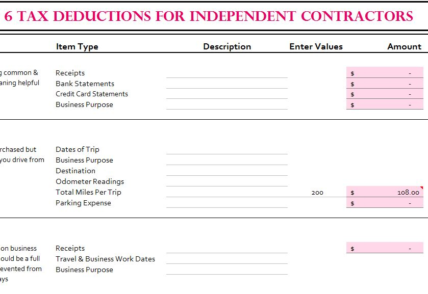 6 Tax Deductions For Independent Contractors My Excel Templates