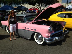 Linda, posing by one her favorite cars at the Route 66 Reunion!