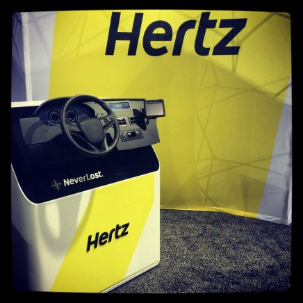 We set up a kiosk to simulate how the Hertz NeverLost is mounted inside of a rental car. The kiosk was a big hit!