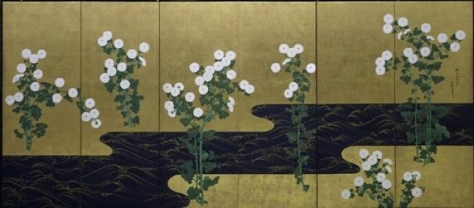 Ogata Kôrin, chrysanthèmes près d'un ruisseau