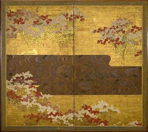Ogata Kôrin, paons et roses trémières, paravent de gauche