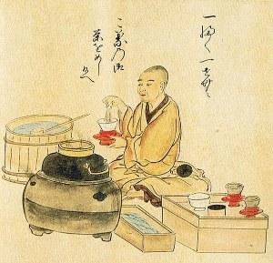 moine servant du thé macha