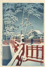 HK48 Hasui Kawase Snow at Yagumo Bridge Nagata Shrine Kobe 1934