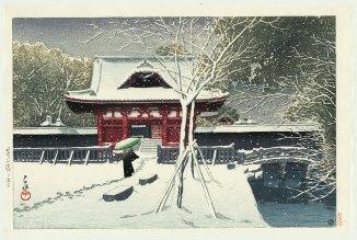 Hasui Kawase Neige au parc Shiba 1931 G
