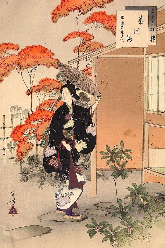 Toshikata Mizuno, 1893, réunion de thé.