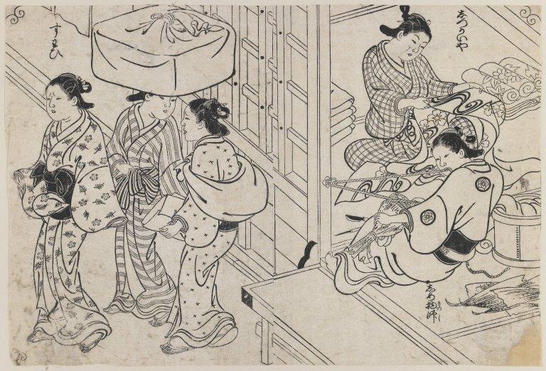 Femmes préparant un brocart. Gravure sur bois (sumi-e), 35,2 × 23,8 cm. Entre 1726 et 1740. ©Brooklyn Museum