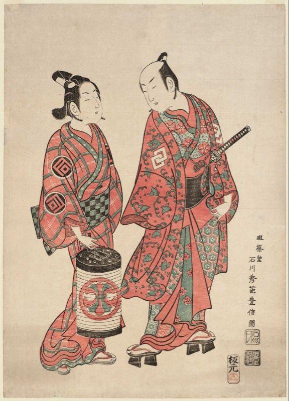 Actors_Nakamura_Shichisaburô_II_and_Sanogawa_Ichimatsu,_Toyonobu,_1740s,_signed_Meijôdô_Ishikawa_Shûha_Toyonobu_zu,_MFA