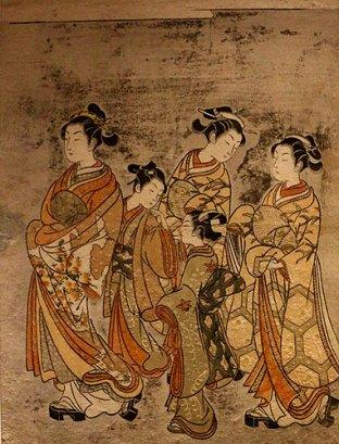 Harunobu - Promenade dans Yoshiwara - Impression polychrome Nishiki-e - 1765-66