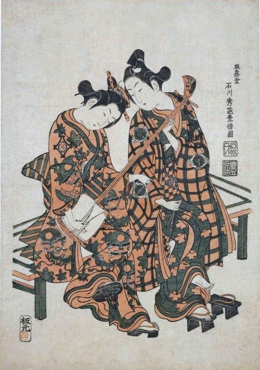 Ishikawa_Toyonobu_of_kabuki_actors_Onoe_Kikugoro_I_and_Nakamura_Kiyosaburo